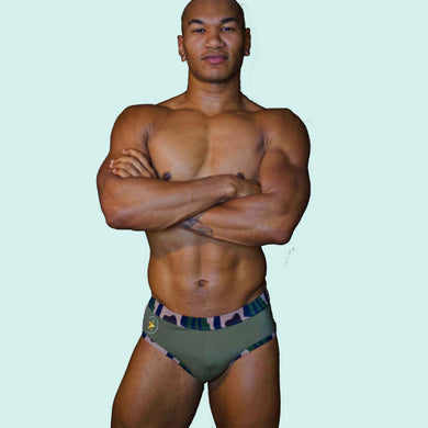 Super Gay Underwear - William Rock Evans Mens Swimwear for Gay Men Army Camo