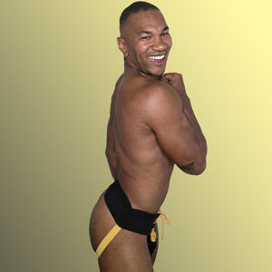 Laced up Jock Strap Mens Lingerie Modeled by gay drag body builder William Rock Evans Fitness aka Miss Toto