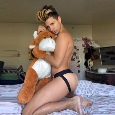 @polania1991 hugging a stuffed animal models the Jock Strap The Omar by Super Gay Underwear and Lingerie For Men