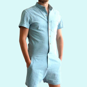 Gay Mens Rompers Romphims Super Gay Underwear Blue Color for Spring and Summer