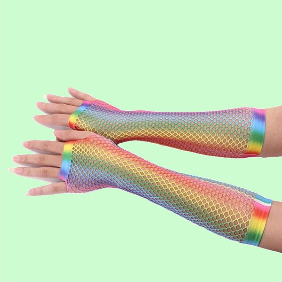 Rainbow Pride Fish Net Gloves for Pride Festivals - By Super Gay Underwear