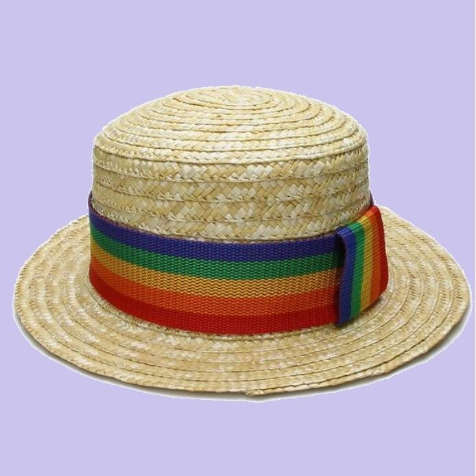 Gay pride rainbow straw hat for pride parties by Super Gay Underwear