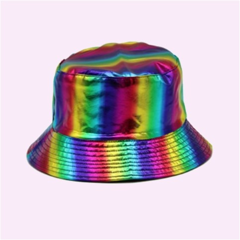 Holographic Rainbow Bucket Hat For Gay Pride Festivals