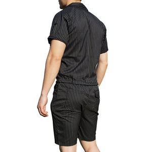 Super Gay Underwear Mens Romper Romphim Black Pinstripe for Spring and Summer