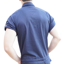 Super Gay Underwear Mens Romper Romphim Blue Pinstripe for Spring and Summer