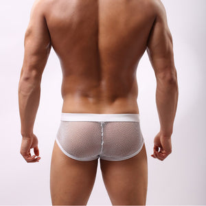 The Nathan White Polyester Mesh Bulge Pouch Mens Underwear See-through Brief