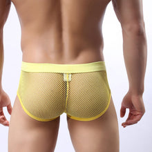The Nathan Yellow Polyester Mesh Bulge Pouch Mens Underwear See-through Brief
