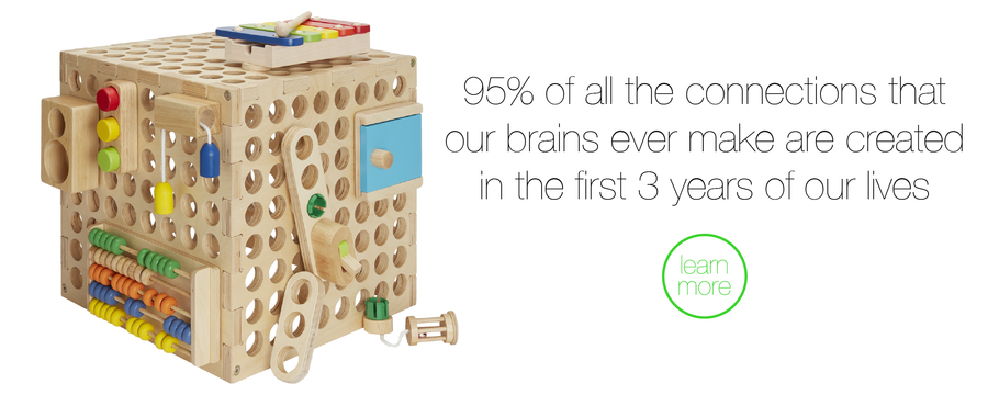 Our wooden toy cube creates an immersive wooden activity centre