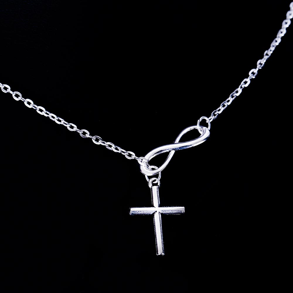 Infinity And Cross Silver Chain Necklace