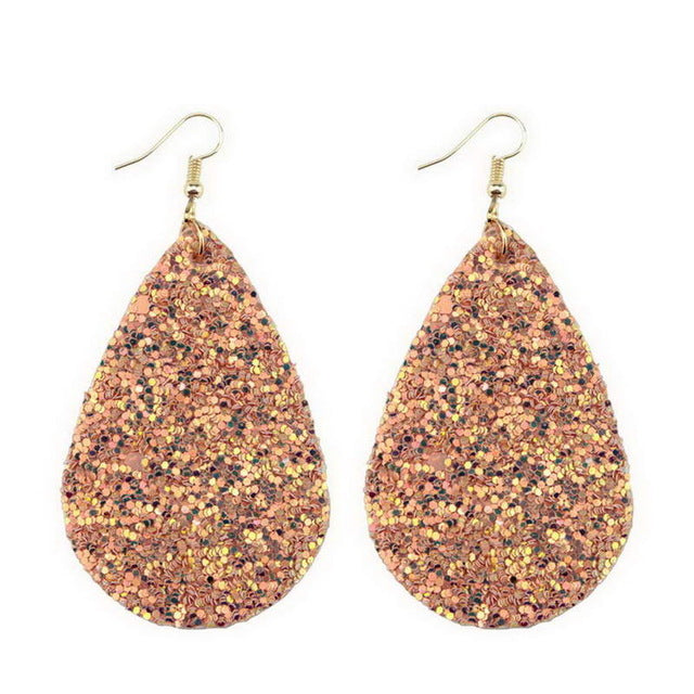 (New!) Teardrop Leather Earrings