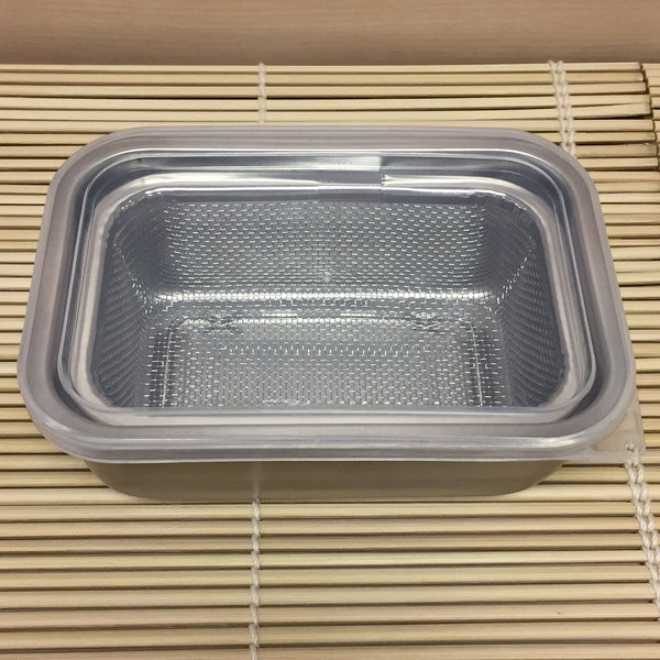 STAINLESS STEEL CONTAINER WITH STRAINER & LID