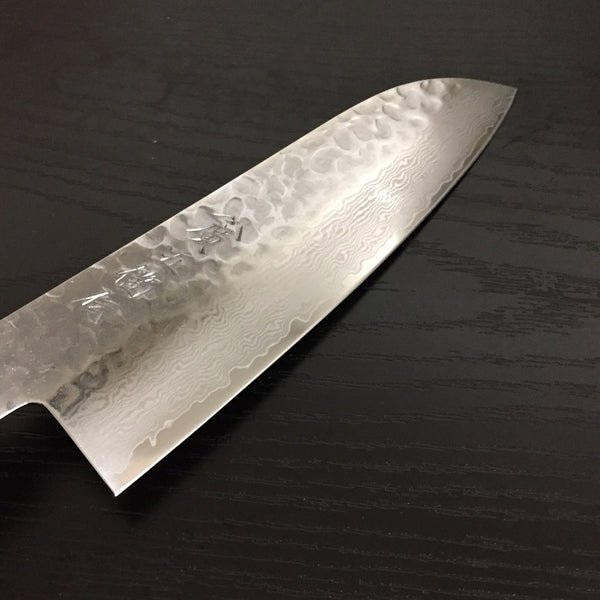 GOKADEN DAMASCUS HAMMERED FIHISH SANTOKU KNIFE  - LACQUER COATING /BLACK