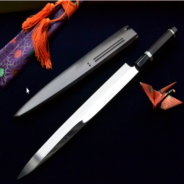 YANAGIBA / SASHIMI KNIFE- GINMAKI MIZU-HONYAKI Mirror Finish White #2 300mm & 330mm