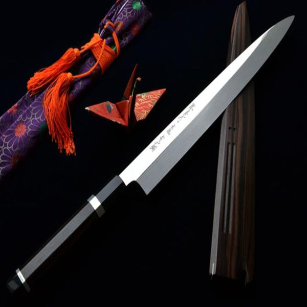 YANAGIBA / SASHIMI KNIFE - GINMAKI MIZU-HONYAKI Mirror Finish Blue #2 300mm &  330mm