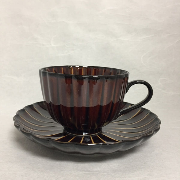 LACQUER COATING CERAMIC COFFEE CUP & SAUCER   - 漆陶輝