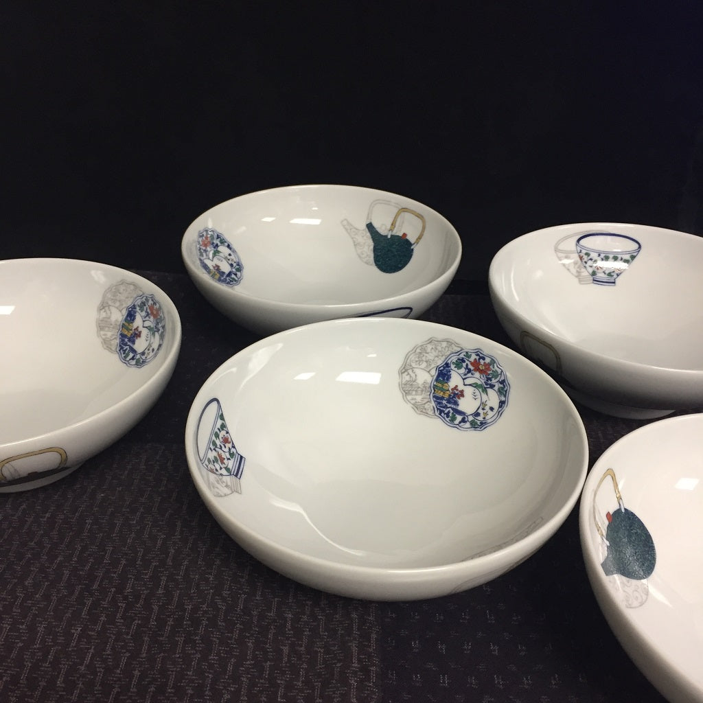 HASAMI YAKI  WHITE PORCELAIN BOWL set of 5