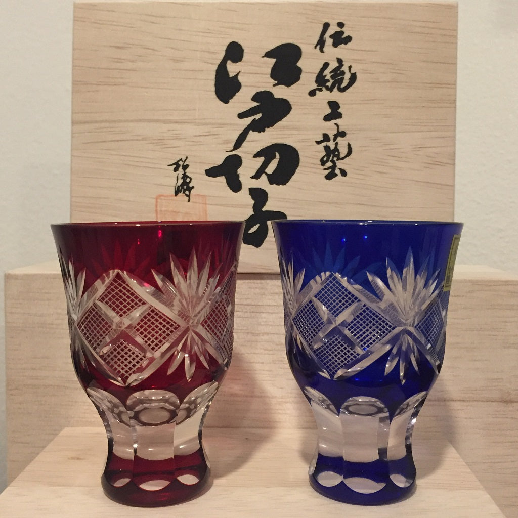 "EDO KIRIKO CUT GLASS ""NANAKO PATTERN (SET)"" / WITH WOODEN BOX"