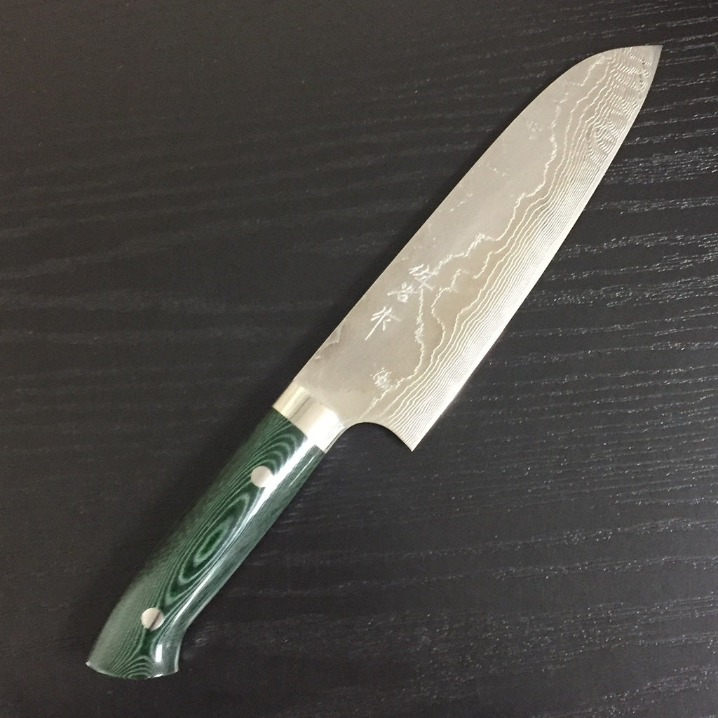 GOKADEN COLLECTABLE KNIFE - VG 10 DAMASCUS PATTERN SANTOKU KNIFE