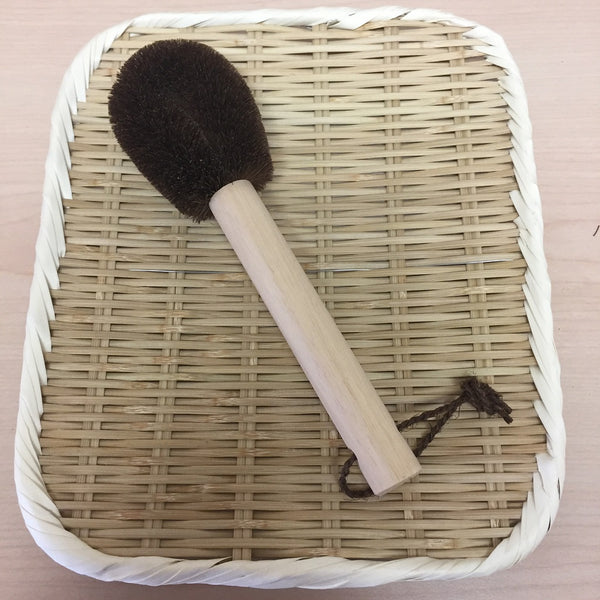HEMP PALM SCRUBBING BRUSH - TAWASHI with handle