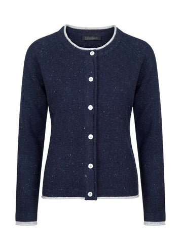 IrelandsEye Ladies Knitted Killiney Button Cardigan - Navy
