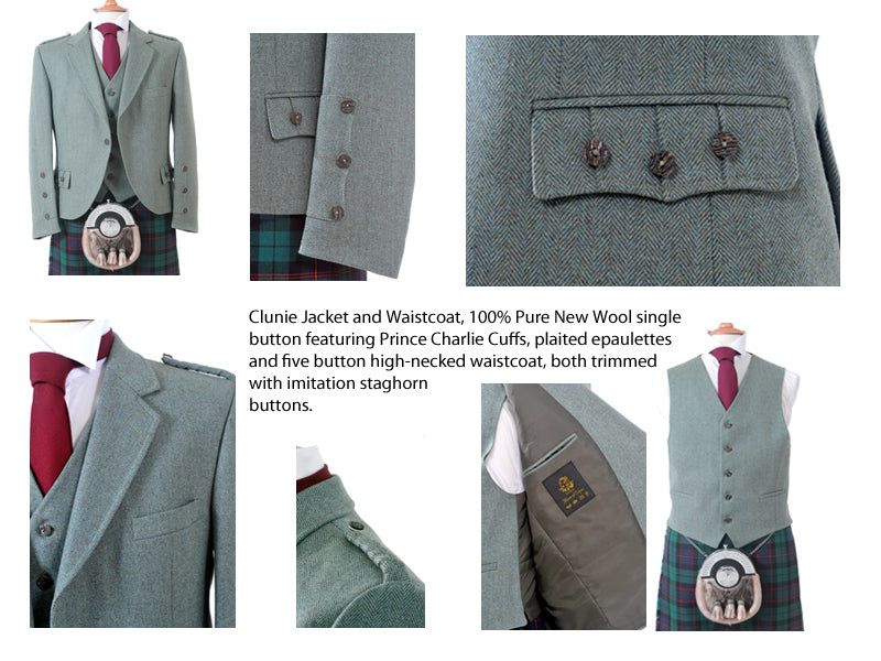 Crail Tweed Jacket and Vest - Green