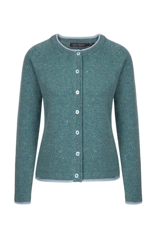 IrelandsEye Ladies Knitted Killiney Button Cardigan - Sea Green