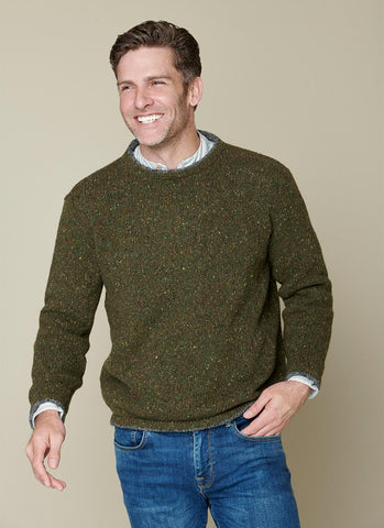 IrelandsEye Men's Knitted Roundstone Pullover - Green