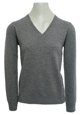 IrelandsEye Ladies Knitted V Neck Pullover Grey