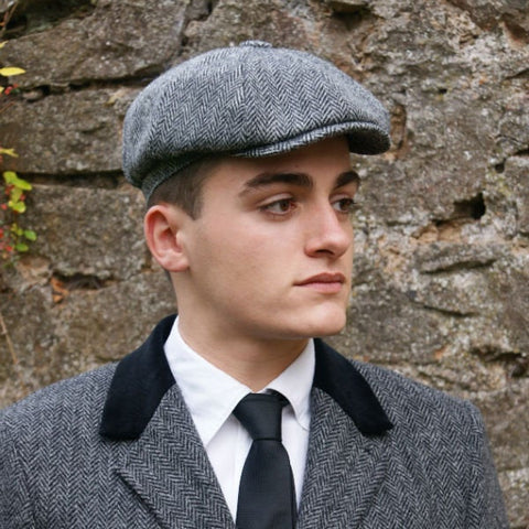 Glen Appin Harris Tweed Shelby Cap - Grey