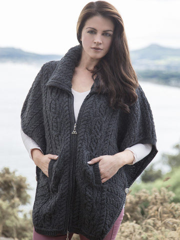 Merino Ladies Batwing Cape / Jacket - Charcoal