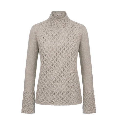 IrelandsEye Ladies Knitted Trellis Pullover - Oatmeal
