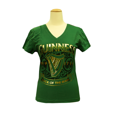 Guinness Ladies V-neck Green Harp