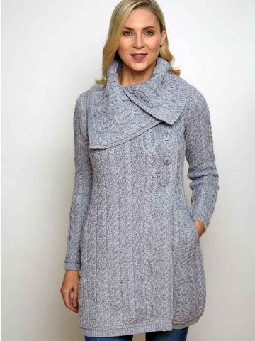 Merino Ladies Large Collar Button Coat - Soft Grey