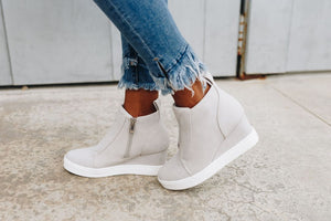 Hole In One Suede High Tops in Light Gray