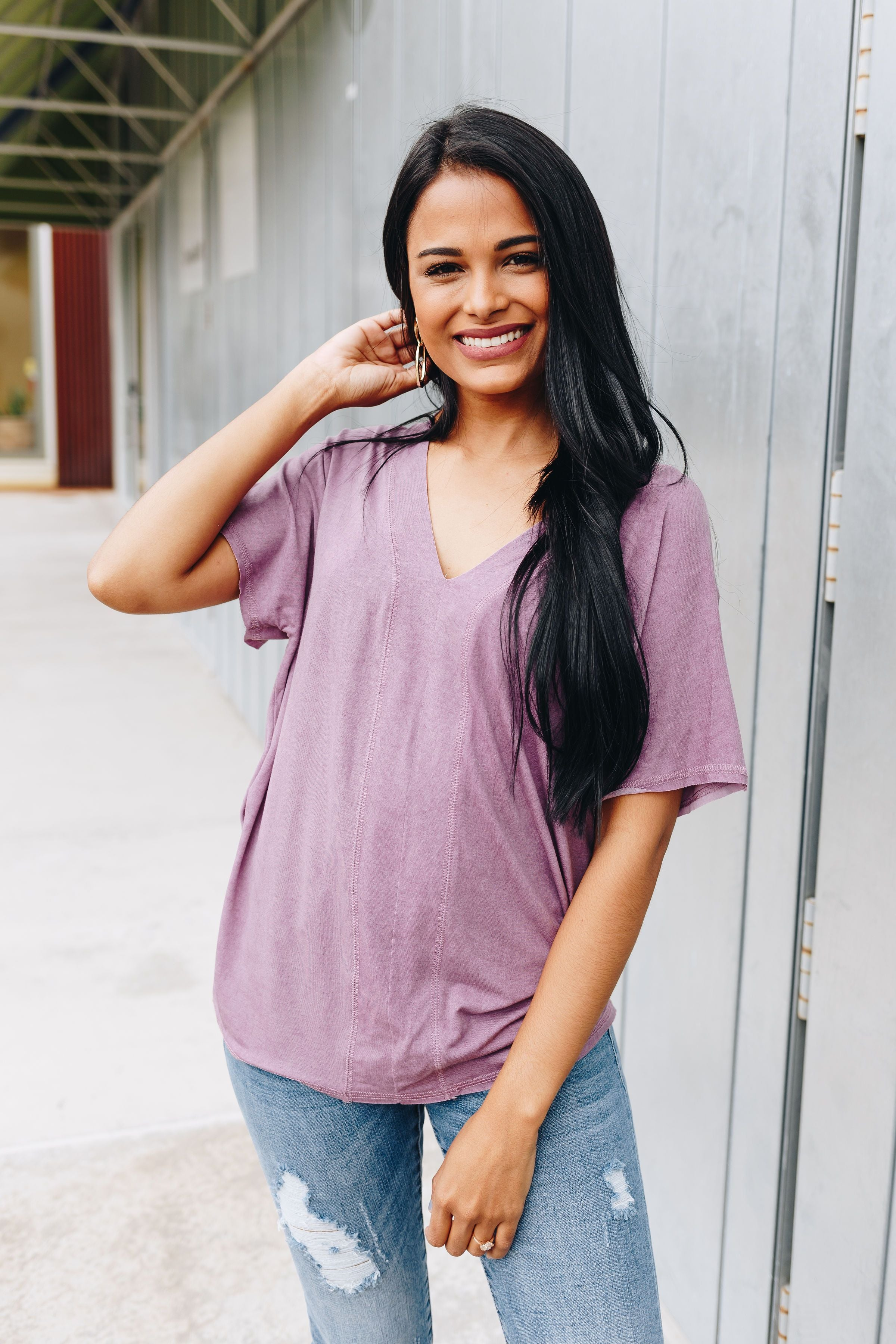 It's All About The V Tee In Mauve