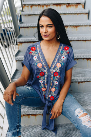 Bright Floral Embroidered Top In Navy