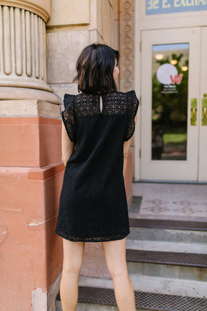 Lovely Lace Overlay Dress In Black