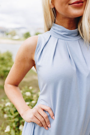 Pleats A Plenty Sleeveless Top In Pale Blue
