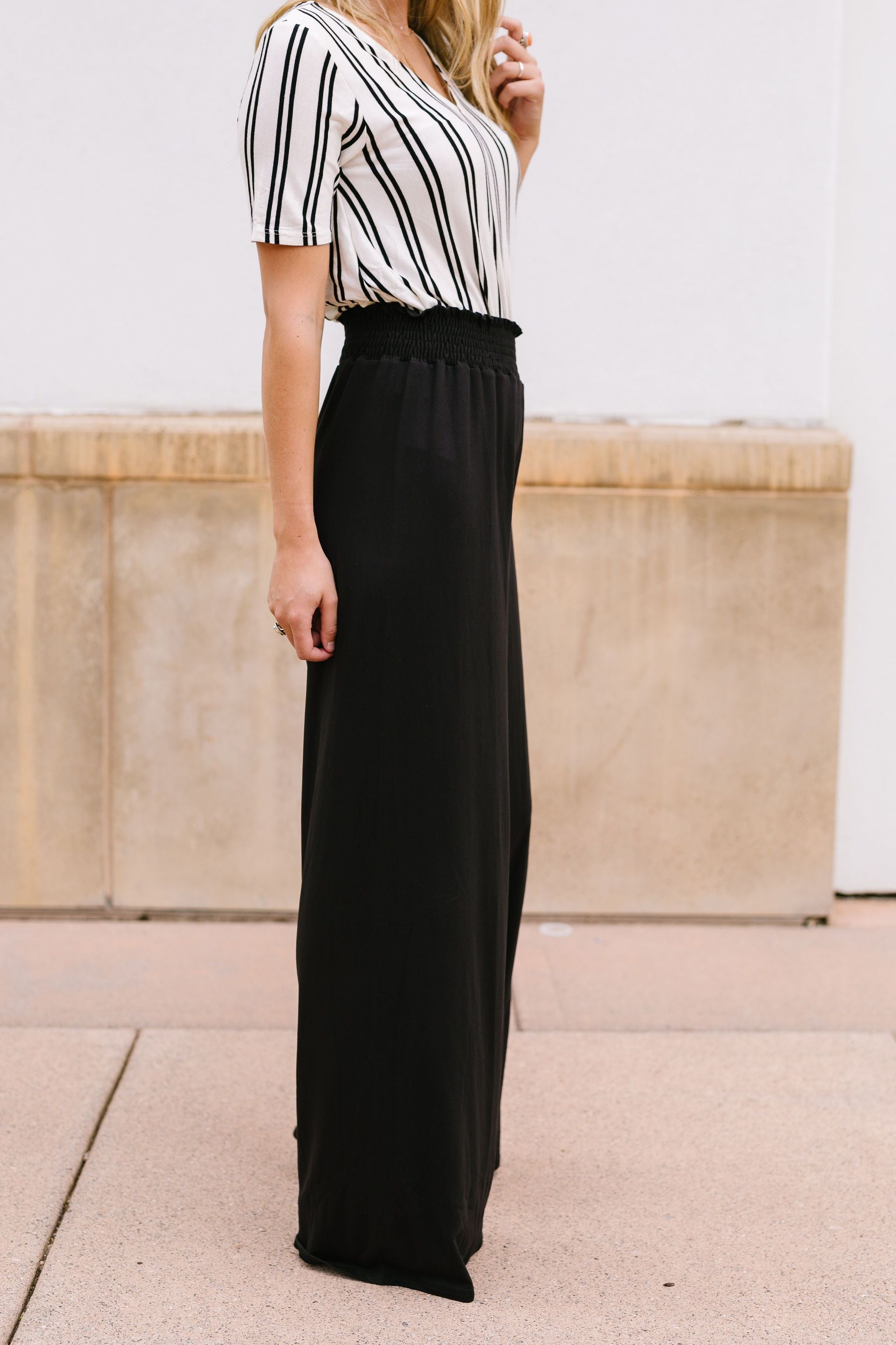 Ruched Waist Wide Leg Pants