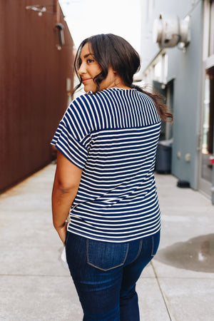 Stripes Over Easy Tie Front Top