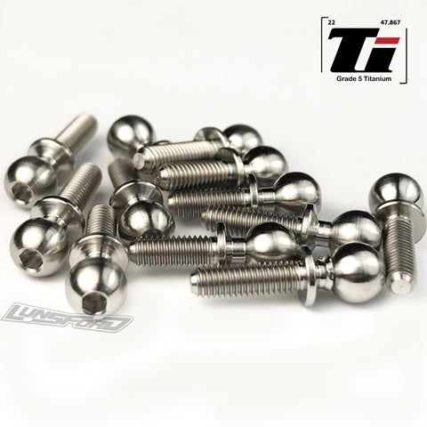 5.5mm Broached Titanium Ball Stud Kit for Team Associated RC10B6.1 / RC106.1D / RC10B6.1 FL (12pcs)
