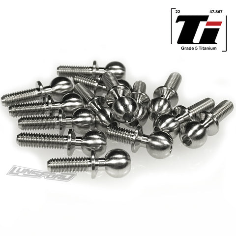 5.5mm Broached Titanium Ball Stud Kit for Team Associated RC10B74 (14pcs)