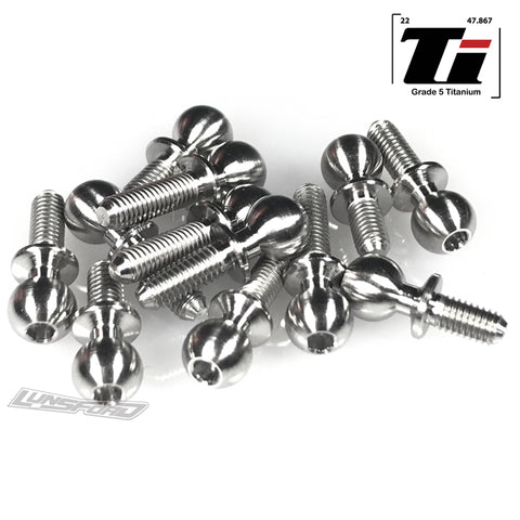 5.5mm Broached Titanium Ball Stud Kit for Team Associated RC10B6.2 / RC10B6.2D (12pcs)