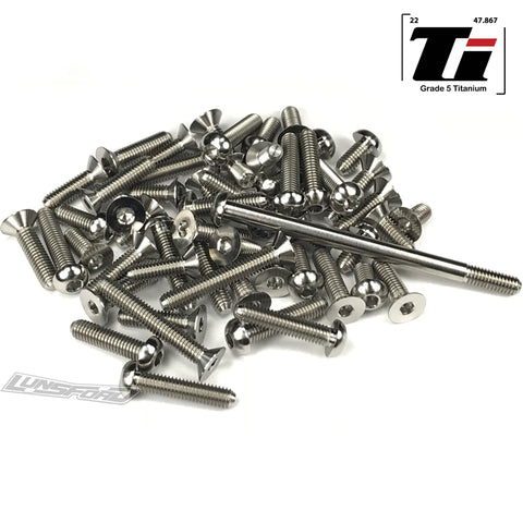 Titanium Screw Kit for TLR 22 4.0 Lay Down Transmission (74pcs)