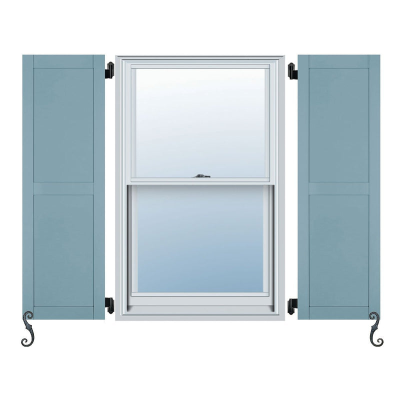 Fiberglass Elite Series Two Equal Flat Panel/Shaker Style Exterior Shutter - 1 Pair