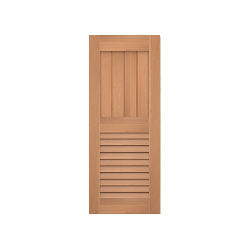 Flat Panel V Groove Over Louver Cedar Shutter - 1 Pair