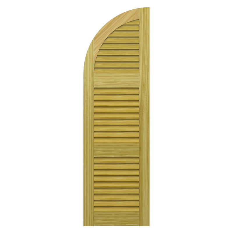 Louvered Arch Top Pine Shutter - 3 Equal Sections - 1 Pair