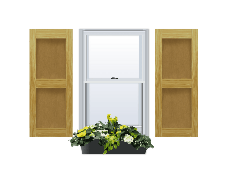Flat Panel (Shaker Style) Pine Shutter - 2 Equal Sections - 1 Pair