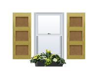 Flat Panel (Shaker Style) Pine Shutter - 3 Equal Sections - 1 Pair