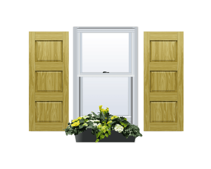 Raised Panel Pine Shutter - 3 Equal Sections - 1 Pair